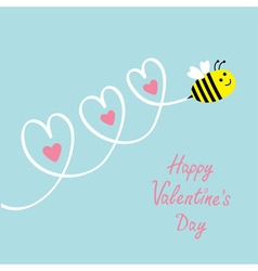 Happy Valentines Day Love card Cute flying bee vector image vector image