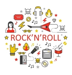 Rocknroll Line Art Thin Icons Set vector image