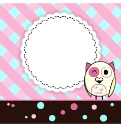Template blue and pink greeting card with owl vector image