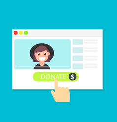 the browser window with the donate button vector image