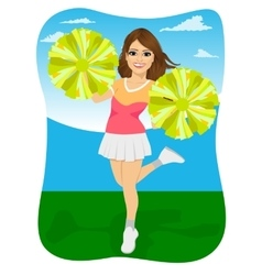 young cheerleader holding pompoms vector image