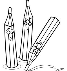 crayons cartoon coloring page vector image vector image