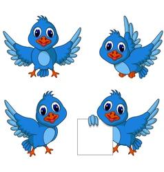 cute blue bird cartoon collection vector image vector image