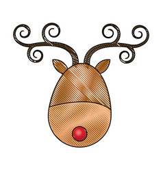 Cute cartoon deer with curly horns red nose head vector