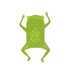 Frog running away turning its back flat cartoon vector