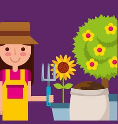 happy girl holding rake pot sunflower tree and vector image