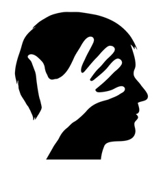 Male silhouette with hand vector image vector image