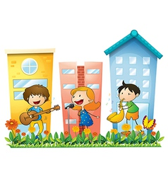 Musicians performing near the buildings vector image