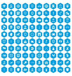 100 shield icons set blue vector