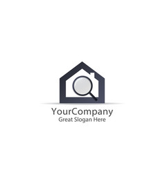 abstract house search logo icon design find home vector image