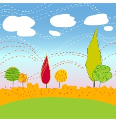 Autemn Landscape with trees and clouds vector image