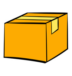 closed cardboard box taped up icon icon cartoon vector image