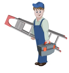 The workman standing with ladder and a toolbox vector image vector image