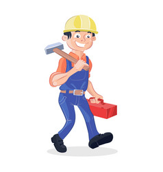 Worker holding a hummer and a box tools vector