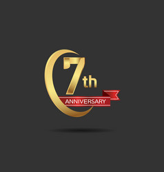 7 years anniversary logo style with swoosh ring vector