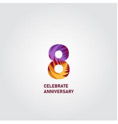 8 year anniversary elegant rainbow template design vector