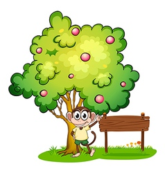 A monkey under the tree beside the empty wooden vector