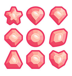 a set of pink emblems of precious stones vector image