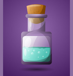 a test tube with a green liquid for design in vector image