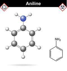 Aniline organic solvent molecular structure vector image