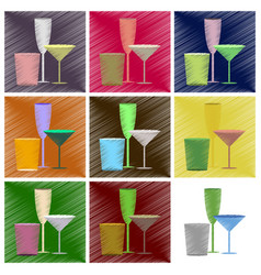 assembly flat shading style icons cocktail vector image
