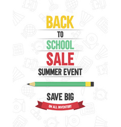 Back to school sale poster template vector