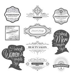 Barber shop labels and logos vector