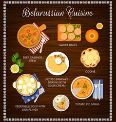 Belarussian cuisine food belarusian dishes menu vector