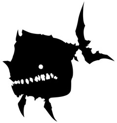 Black graphic silhouette big monster fish vector