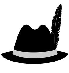 Black hat with feather on white vector image