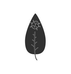 Black icon on white background leaf and ladybug vector