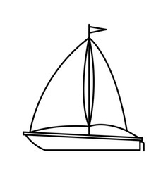 Black silhouette of sailboat icon vector