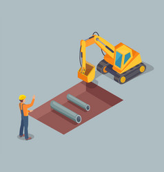 bulldozer worker with helmet vector image