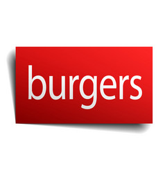 Burgers red paper sign isolated on white vector