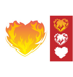 Burning heart icon vector