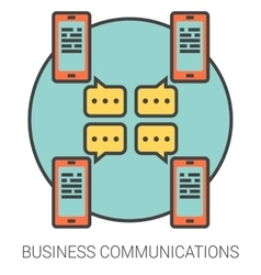 Business communications line icons vector