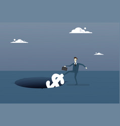business man putting dollar in hole economic fail vector image