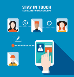 businessman hand touching the tablet screen with vector image