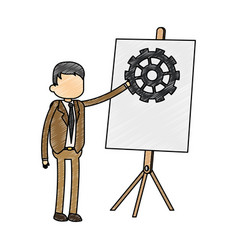 Businessman with whiteboard scribble vector