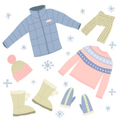 cartoon winter warm clothes signs icon set vector image