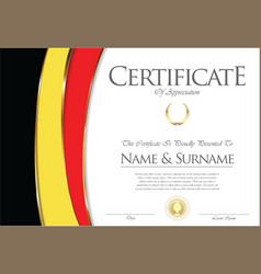 Certificate or diploma belgium flag design vector
