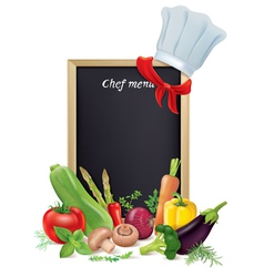 Chef menu board and vegetables vector