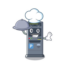 chef with food parking vending machine isolated vector image