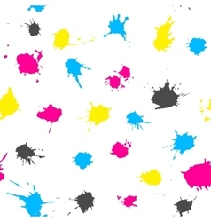 CMYK ink splashes seamless pattern vector image