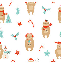 colorful seamless patterns with cute sloths vector image