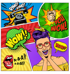 comic colorful composition vector image