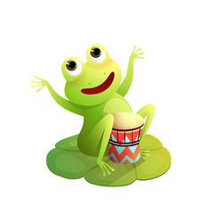 concert with frog playing drums on waterlily pod vector image