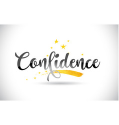 Confidence word text with golden stars trail and vector