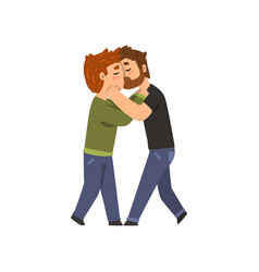 Couple of gay men embracing and kissing lgbt men vector