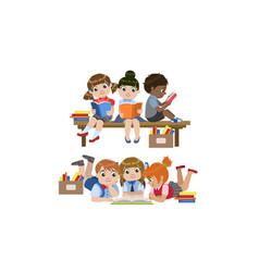 cute kids enjoying reading books set vector image